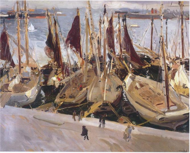 boats-in-the-port-valencia by Joaquin Sorolla1904