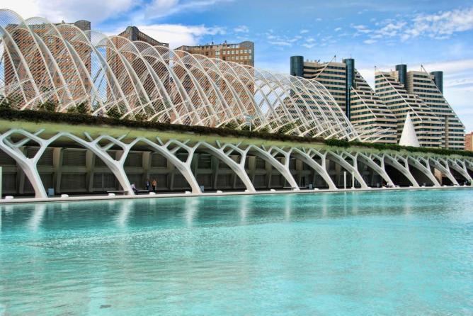 Ciudad de las Artes y las Ciencas Brug ontworpen door Calatrava