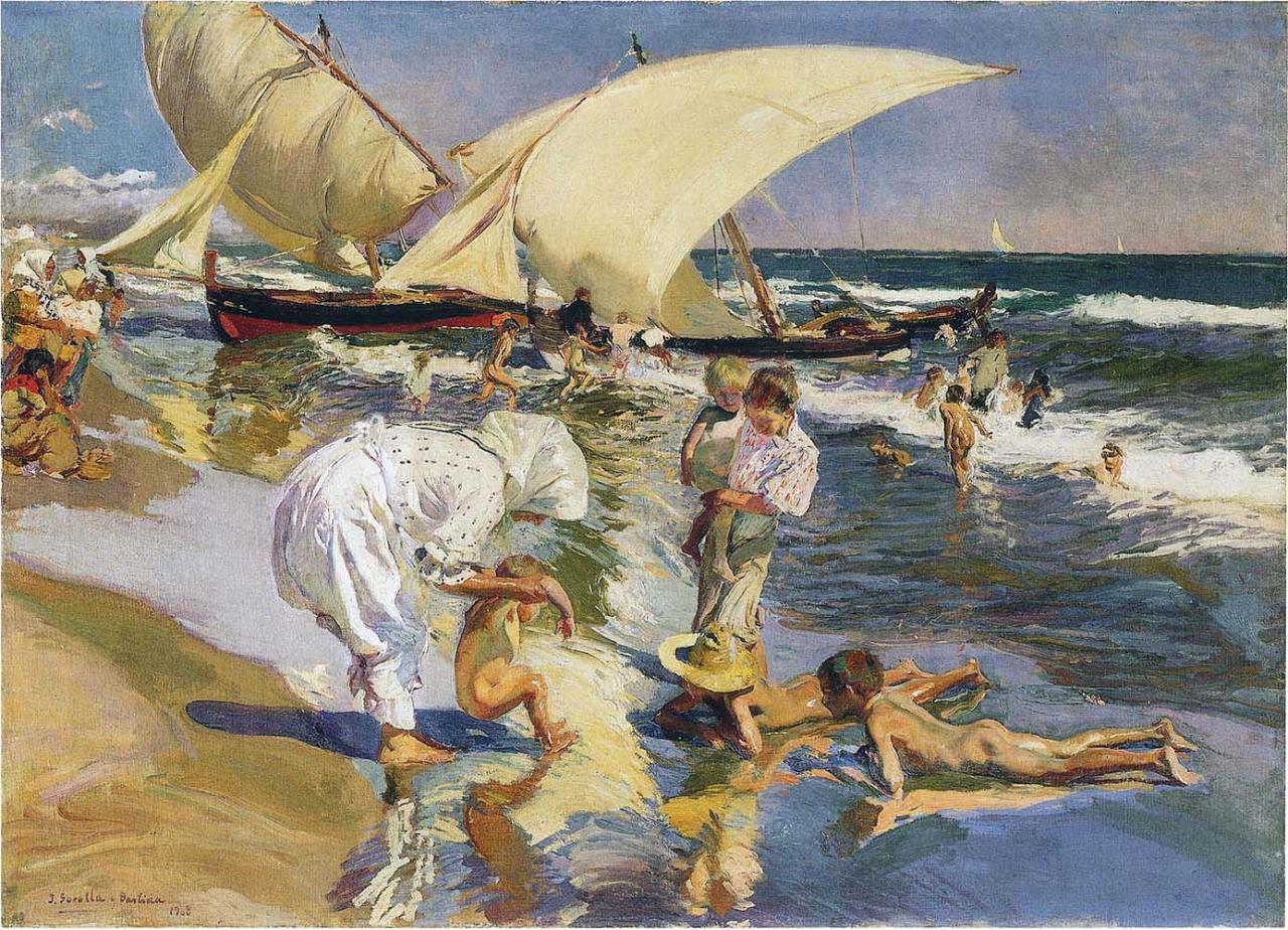 Valencia playa de Malvarossa door Joaquin Sorolla (1908)